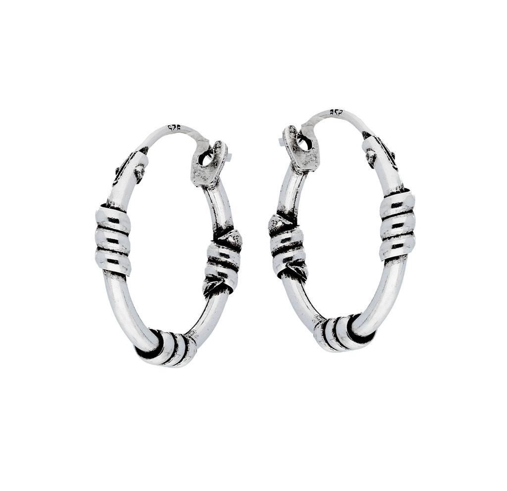 Lovenotes Zilveren geoxideerde balicreolen - 16 mm - Bali hoops