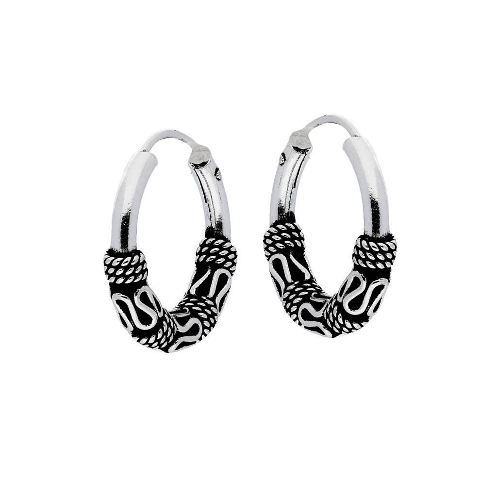Lovenotes Zilveren geoxideerde balicreolen - 15 mm - Bali hoops