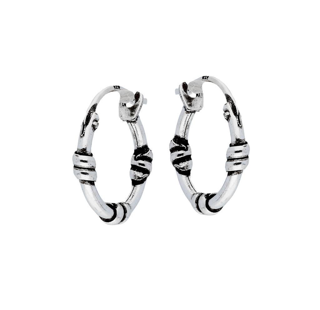 Lovenotes Zilveren geoxideerde balicreolen - 14 mm - Bali hoops
