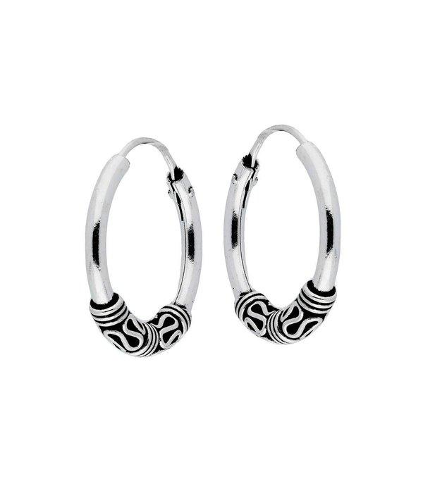 Lovenotes Zilveren geoxideerde balicreolen - 18 mm - Bali hoops
