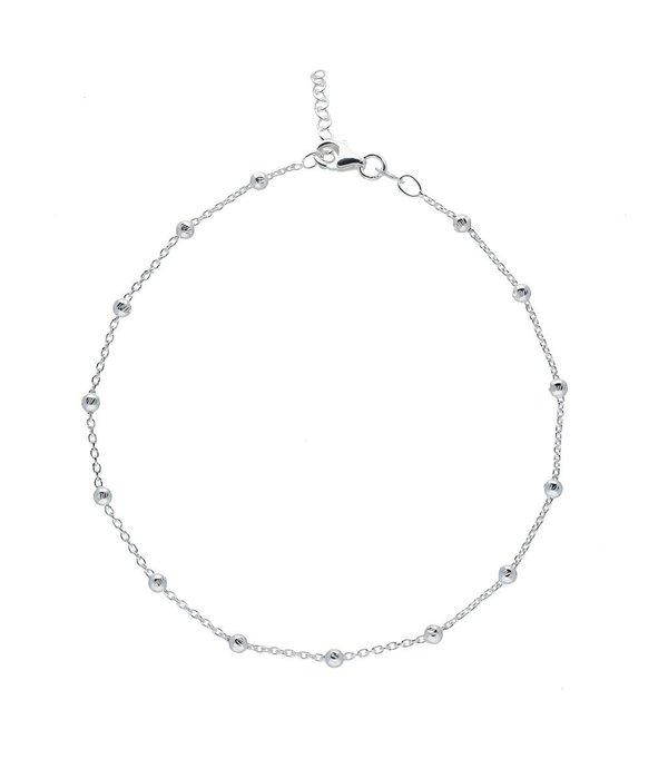 Best basics Zilveren enkelbandje - anker - balletjes - 23-26cm
