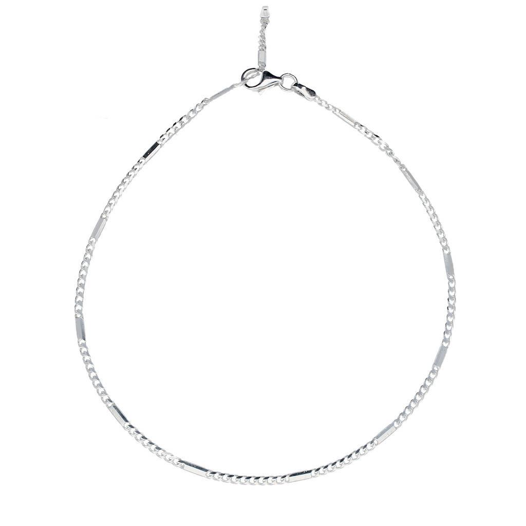 Best basics Zilveren enkelbandje - gourmet met plaatjes - 23 - 26cm - 1.8 mm