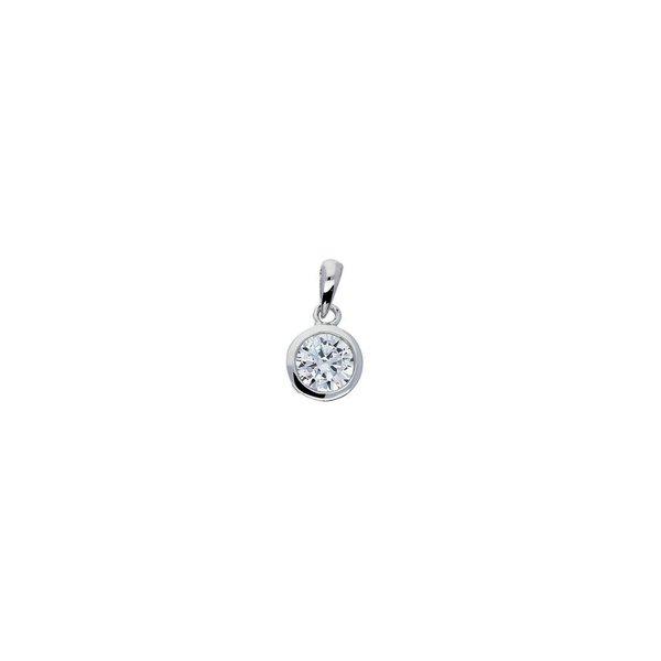 Zilveren hanger - zirkonia - solitaire 6 mm