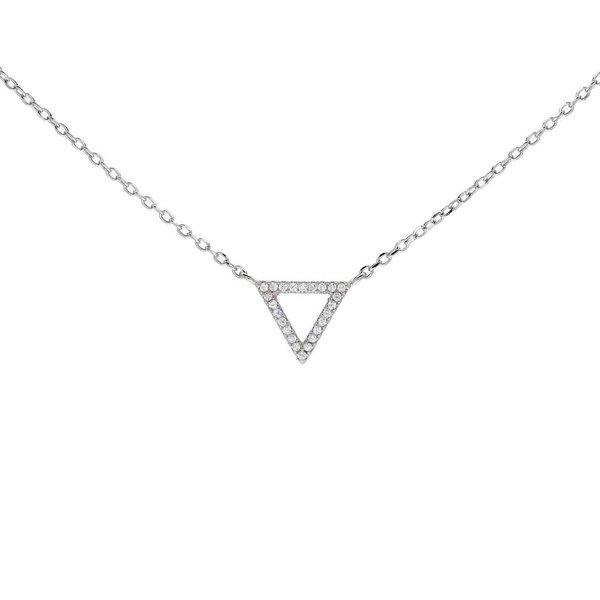 Zilveren symboolcollier - driehoek - pavé
