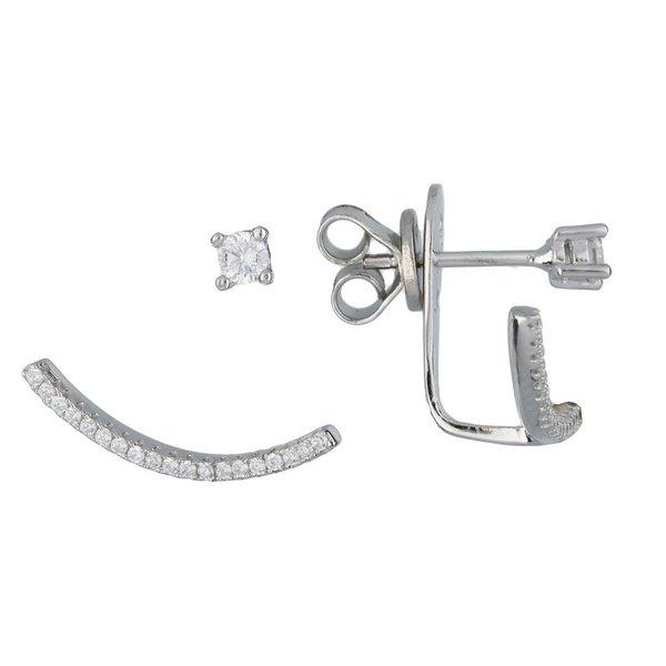 Zilveren gerodineerde earjackets - pave