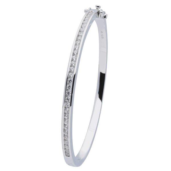 Zilveren slavenband - zirkonia -  vierkant