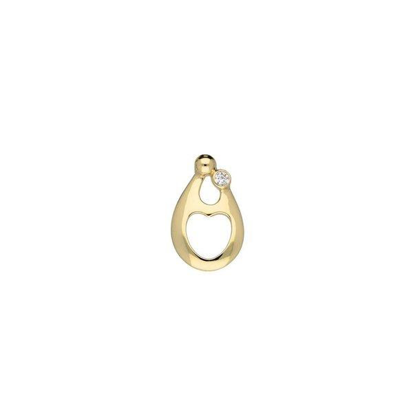 Gouden hanger - familiehanger - 1 zirkonia