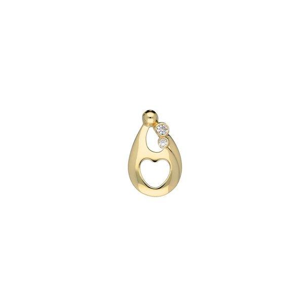 Gouden hanger - familiehanger - 2 zirkonia's