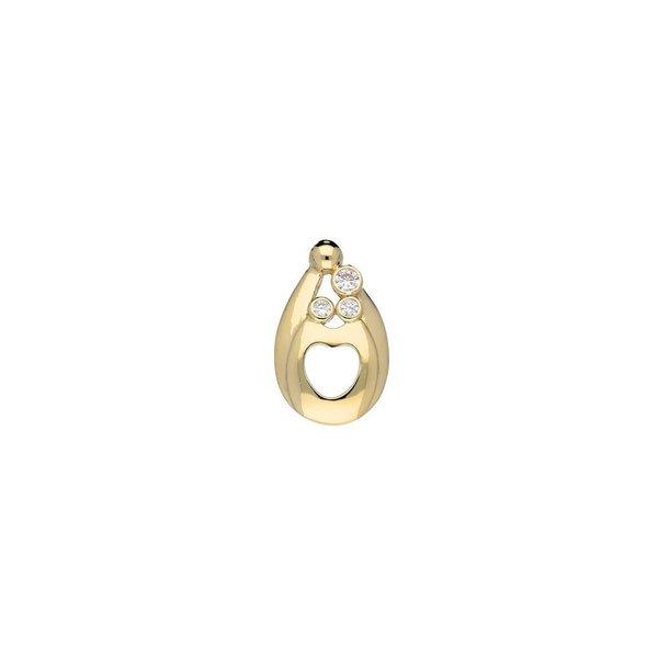 Gouden hanger - familiehanger - 3 zirkonia's