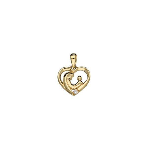 Gouden hanger - familiehanger - hart - 1 zirkonia