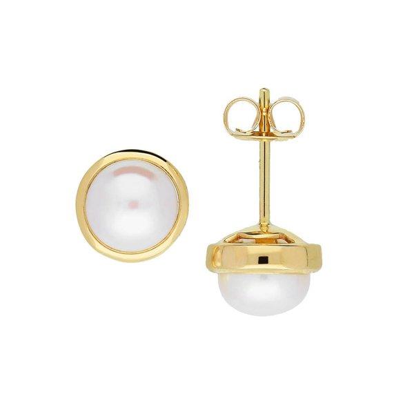 Gouden oorknoppen - zoetwaterparel - button
