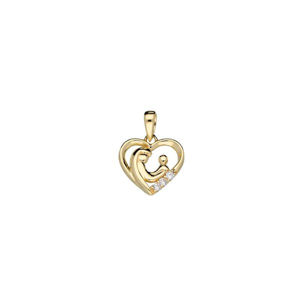 Gouden hanger - familehanger - hart - 3 zirkonia's