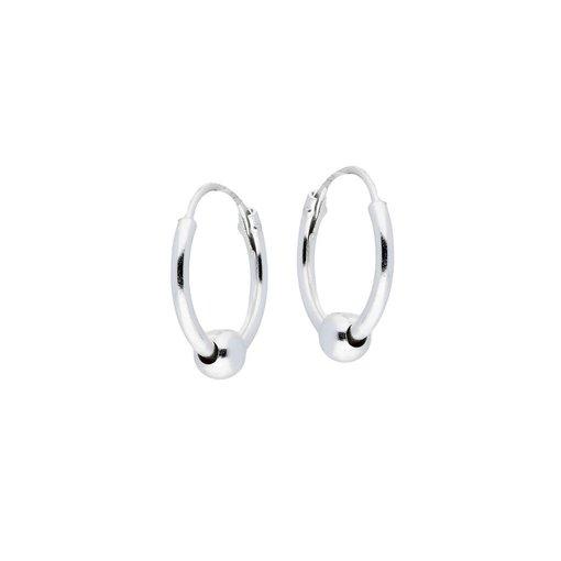 Zilveren draadcreolen met hanger - balletje