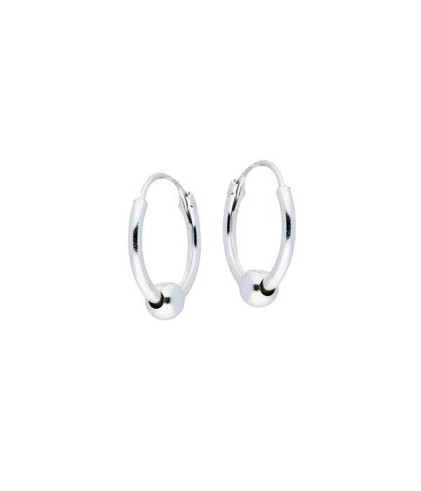 Best basics Zilveren draadcreolen met hanger - balletje - 1.2 mm x 12 mm