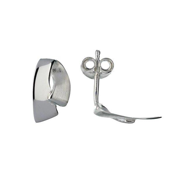 Zilveren oorknoppen - mat glanzend