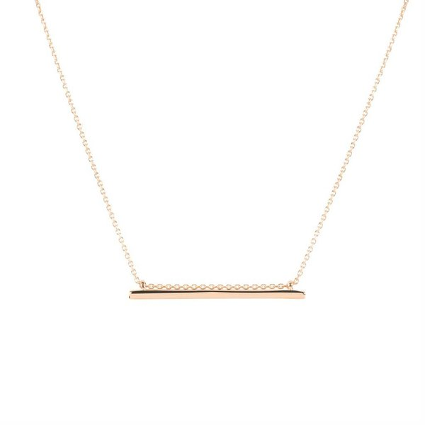Zilveren rosé-plated symboolcollier - hanger recht