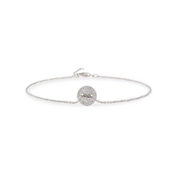 Zilveren symboolarmband - knoop zirkonia - 19+2 cm