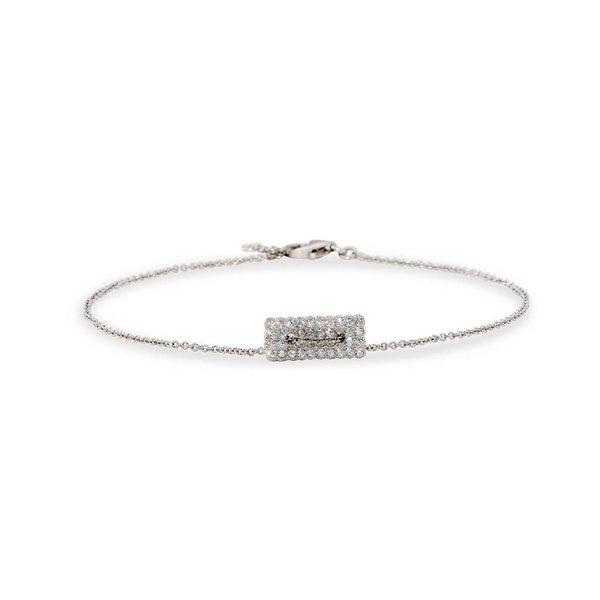 Zilveren symboolarmband - rechthoek zirkonia