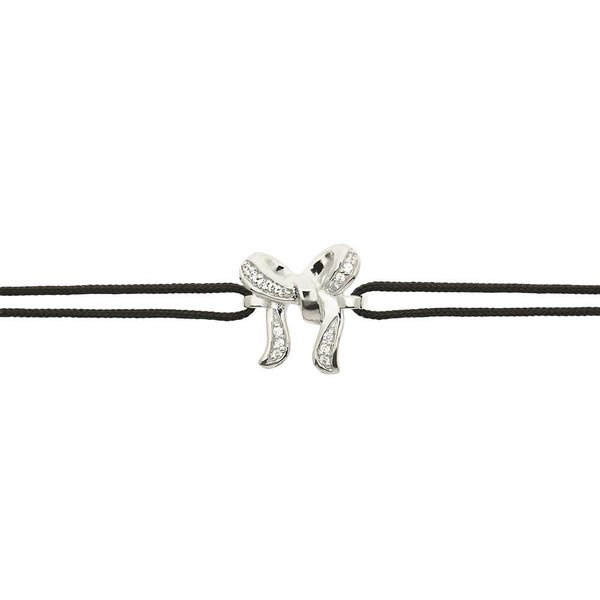 Zijden armband - zilveren strik bedel - zirkonia