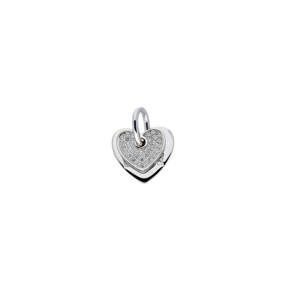 Zilveren symboolhanger - hart met zirkonia