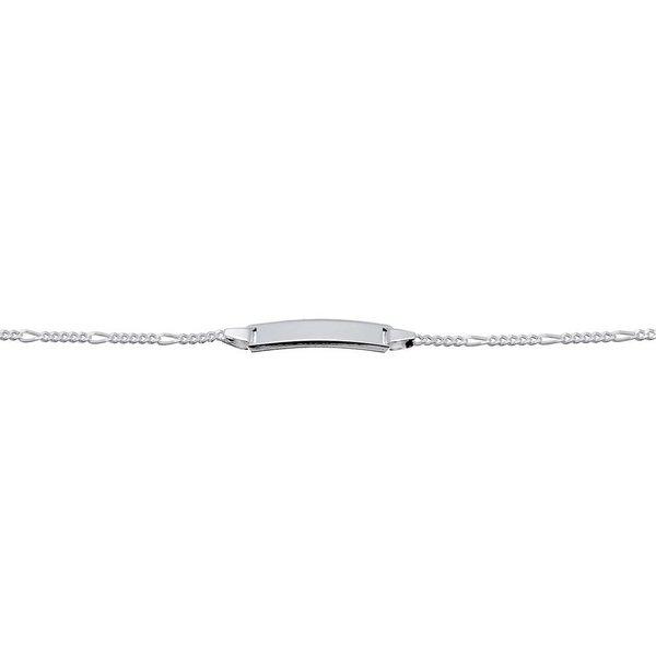 Zilveren plaatarmband - figaro - 14 cm