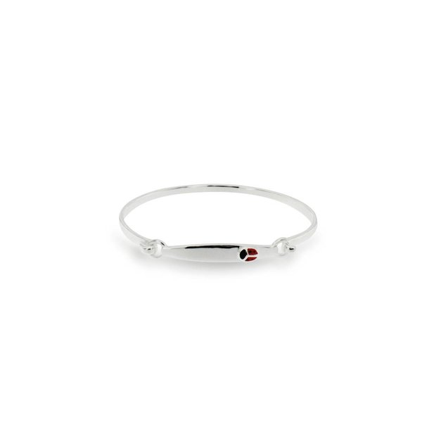 Zilveren klemarmband - 46 mm - lieveheersbeestje