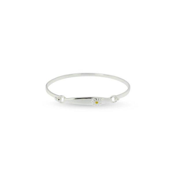 Zilveren klemarmband - 46 mm - witte bloem