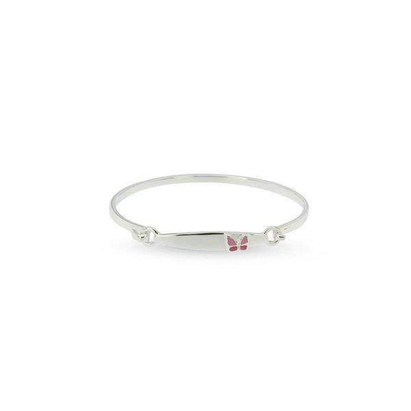 Zilveren klemarmband - 46 mm - roze vlinder