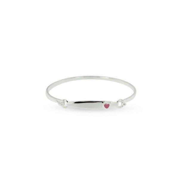 Zilveren klemarmband - 46 mm - roze hart
