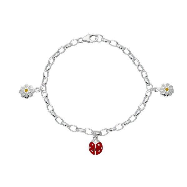 Zilveren bedelarmband - bloem en lieveheersbeestje