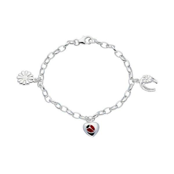 Zilveren bedelarmband - lieveheersbeestje in hart