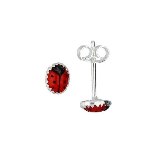 Zilveren kinderoorknopjes - lieveheersbeestje