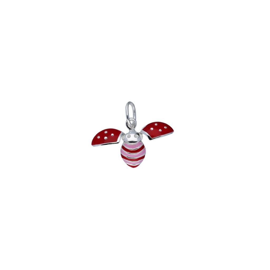 Lilly Zilveren kinderhanger - vliegend lieveheersbeestje -