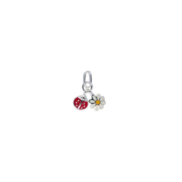 Zilveren kinderhanger - bloem en lieveheersbeestje