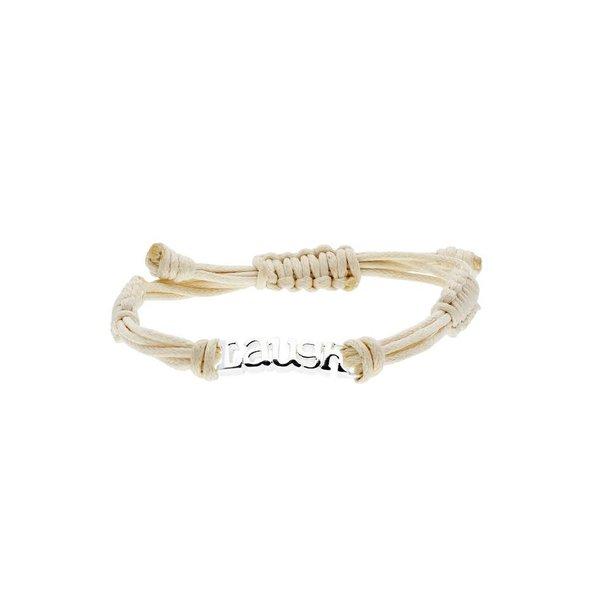 Katoenen knooparmband - zilveren laugh - 16 cm