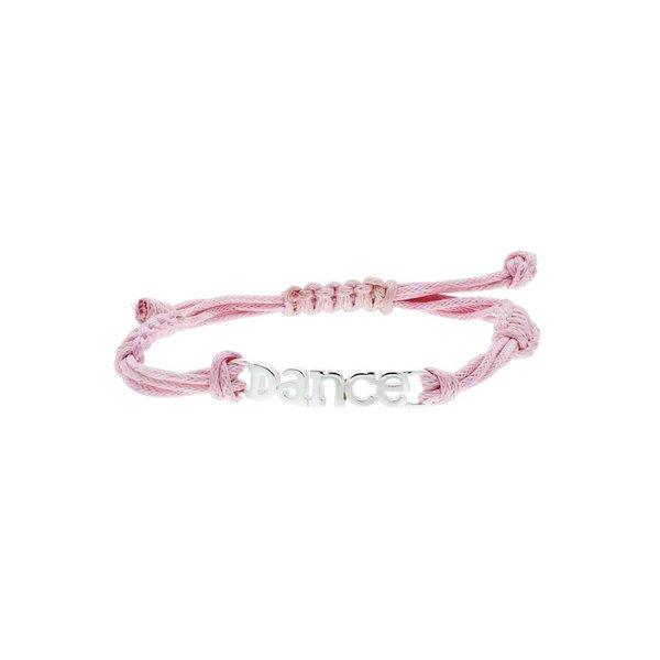 Katoenen knooparmband - zilveren dance - 16 cm