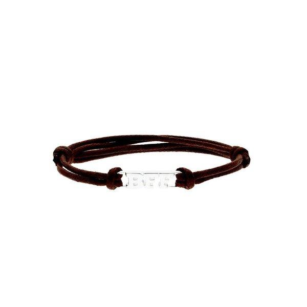 Katoenen knooparmband - zilveren bff - 16 cm