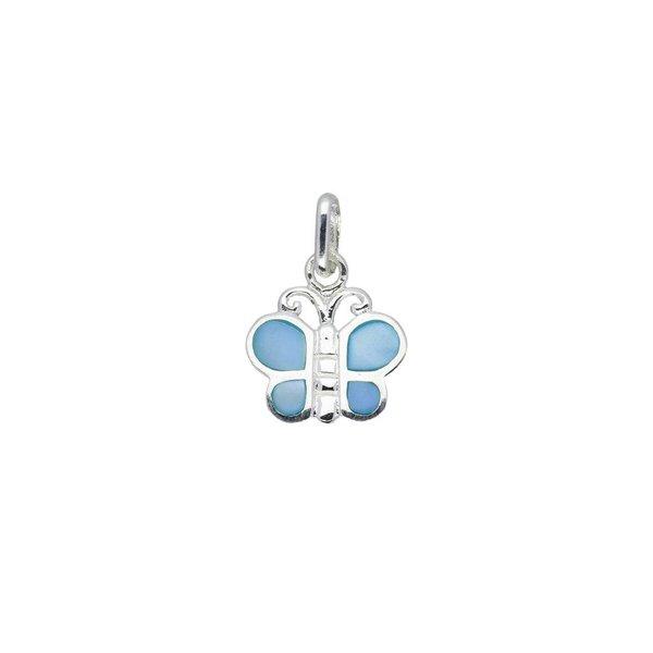 Zilveren kinderhanger - blauwe vlinder