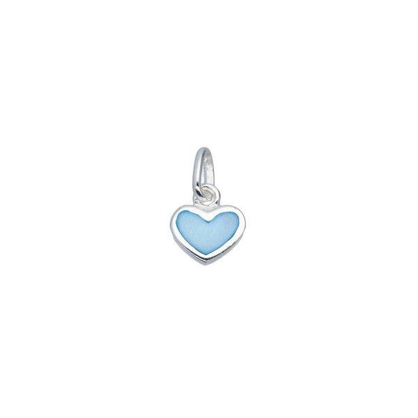 Zilveren kinderhanger - blauw parelmoer hart