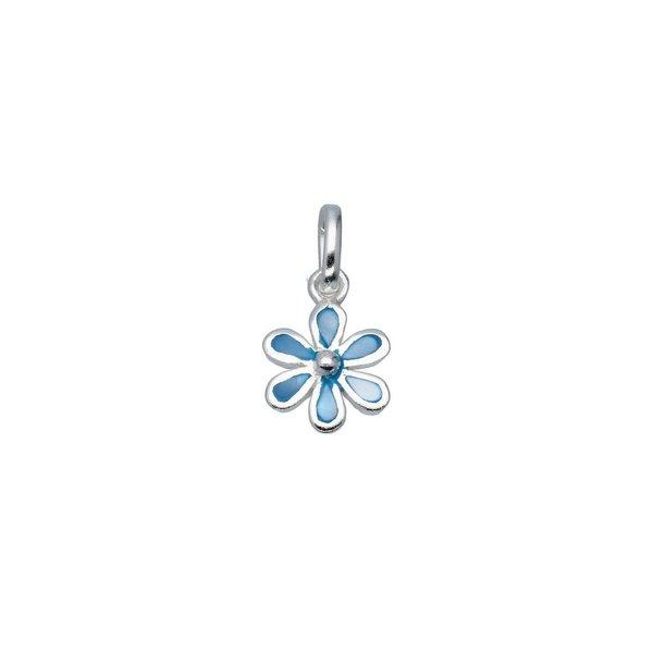 Zilveren bedel - blauwe bloem