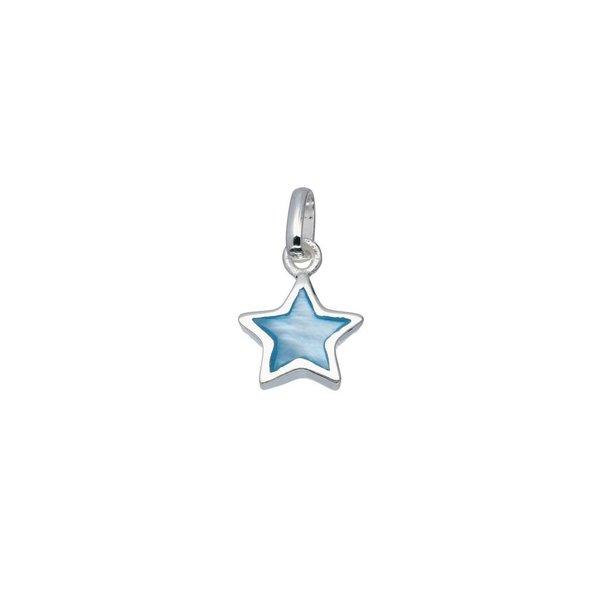 Zilveren bedel - blauwe ster
