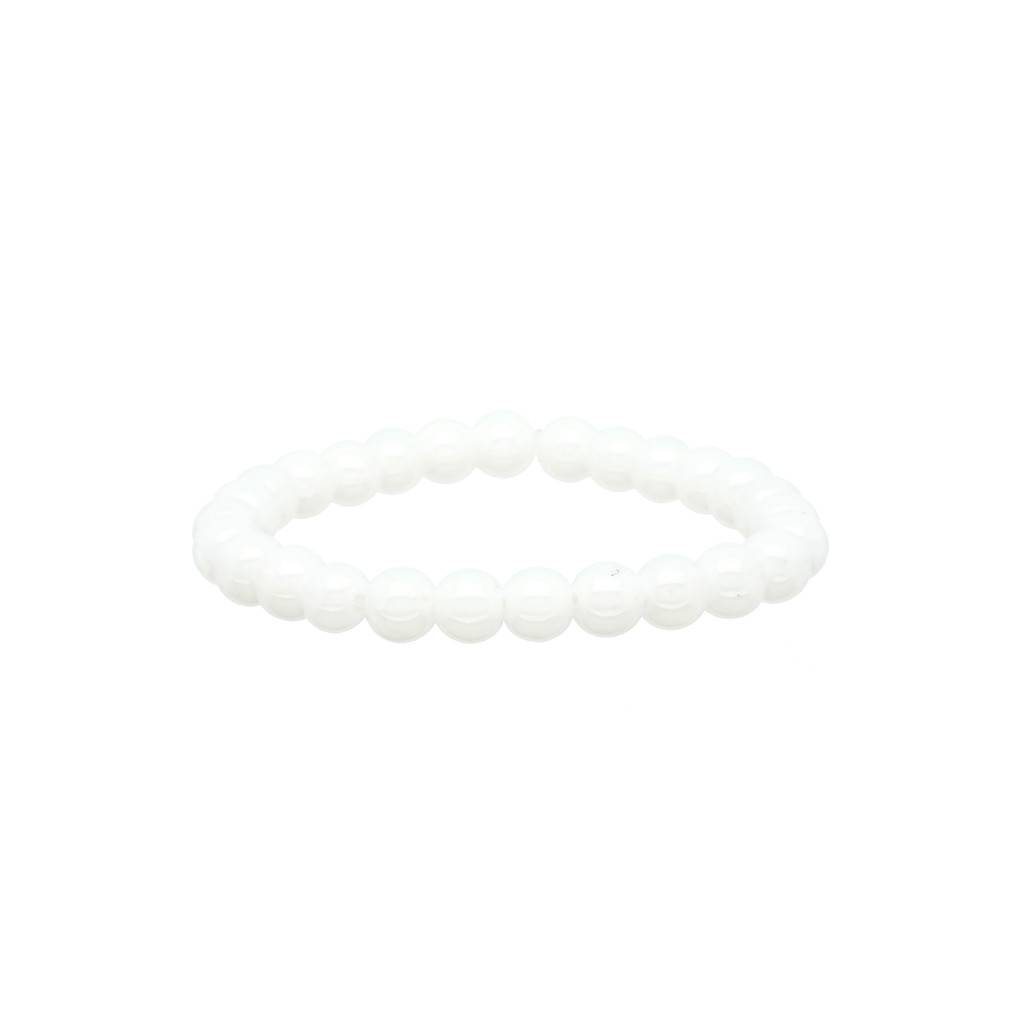 Lilly Stretch kralenarmband - 50 mm - witte glaskralen -