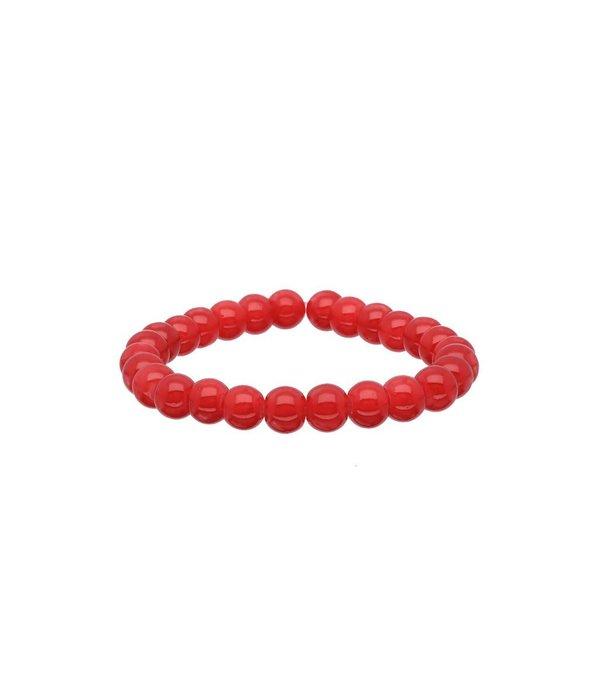 Lilly Stretch kralenarmband - 50 mm - rode glaskralen -