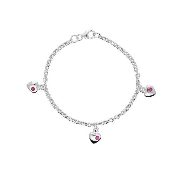Zilveren bedelarmband - hart roze zirkonia - 16 cm