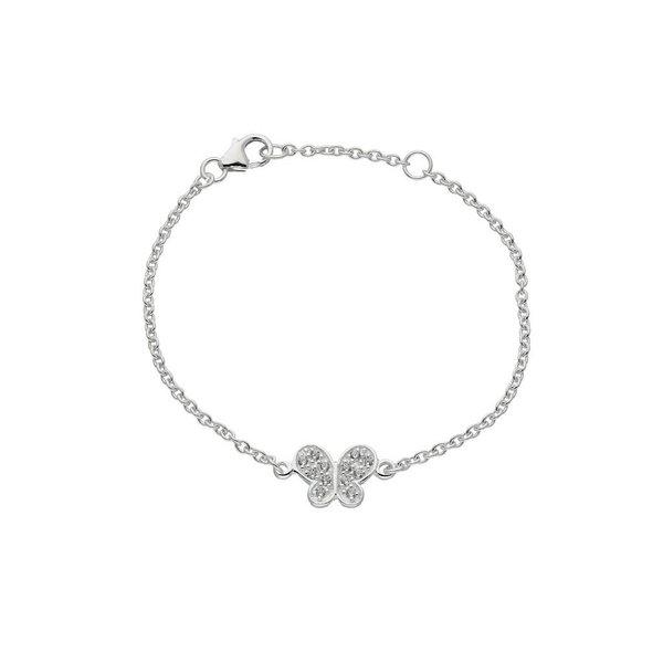 Zilveren symboolarmband - vlinderbedel pavé