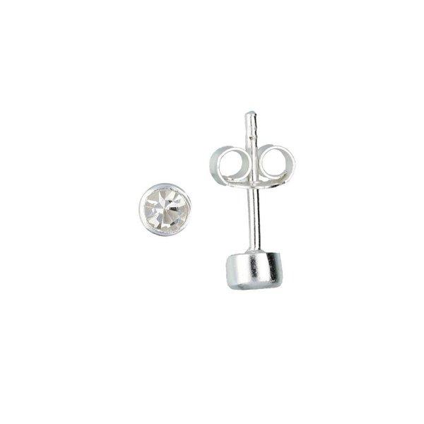 Zilveren kinderoorknopjes - rond met zirkonia
