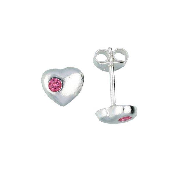 Zilveren kinderoorknopjes - hart roze kristal