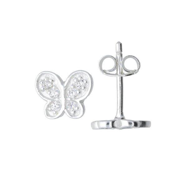 Zilveren kinderoorknopjes - vlinder zirkonia