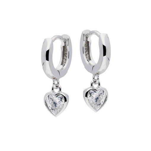 Zilveren kindercreolen - zirkonia in hart vorm