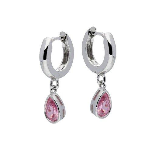 Zilveren klapcreolen - zirkonia roze - druppel